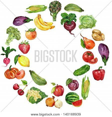 Watercolor set with fruits and vegetables Hand drawn image