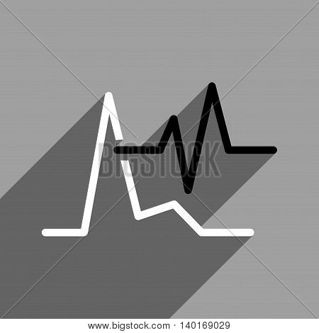 ECG long shadow vector icon. Style is a flat ecg black and white iconic symbol on a gray square background.