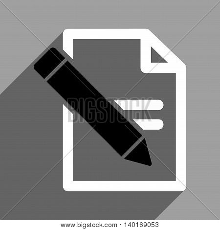 Edit Records long shadow vector icon. Style is a flat edit records black and white iconic symbol on a gray square background.