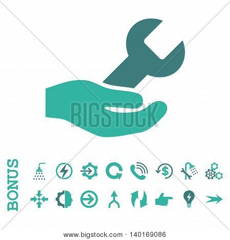 Repair Service vector bicolor icon. Image style is a flat pictogram symbol, cobalt and cyan colors, white background.