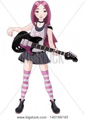 Cool rock star girl playing guitar