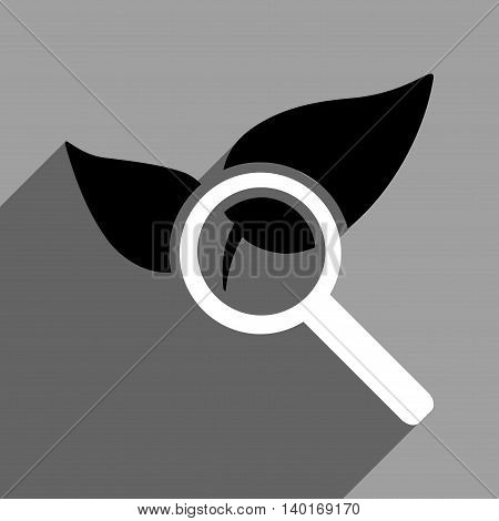 Explore Natural Drugs long shadow vector icon. Style is a flat explore natural drugs black and white iconic symbol on a gray square background.
