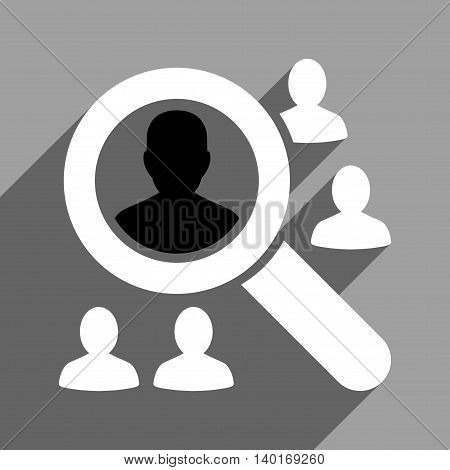 Explore Patients long shadow vector icon. Style is a flat explore patients black and white iconic symbol on a gray square background.