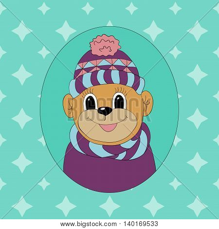 Monkey in a cap and scarf. Print for clothes cards and children's books