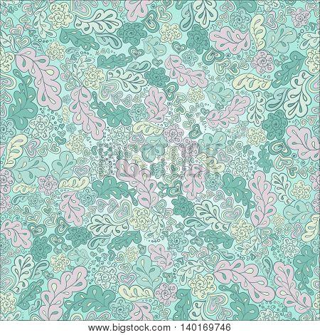 seamless pattern mint pastel flowers, ornament wallpaper