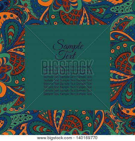 floral doodle etnic pattern frame for inscriptions photo. Cards labels packaging