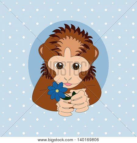 Brown monkey holding a blue flower. Print for cards children's books clothes