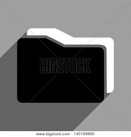 Folders long shadow vector icon. Style is a flat folders black and white iconic symbol on a gray square background.