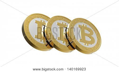Bitcoins isolated on white. 3D illustration.