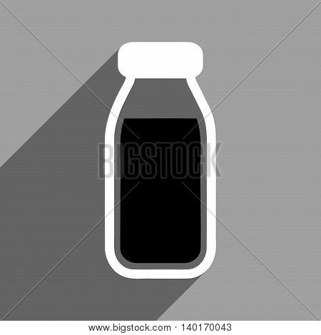 Full Bottle long shadow vector icon. Style is a flat full bottle black and white iconic symbol on a gray square background.