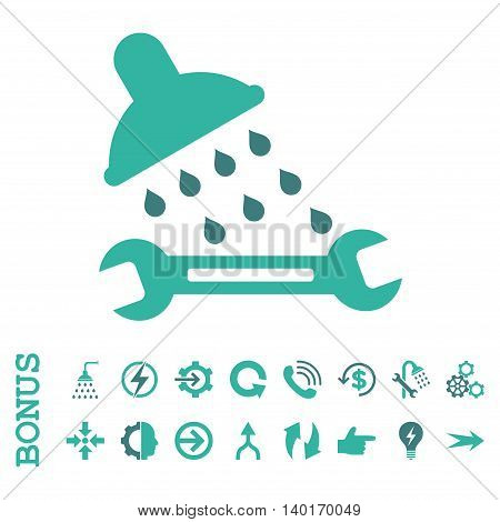 Shower Plumbing vector bicolor icon. Image style is a flat iconic symbol, cobalt and cyan colors, white background.