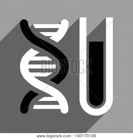 Genetic Analysis long shadow vector icon. Style is a flat genetic analysis black and white iconic symbol on a gray square background.