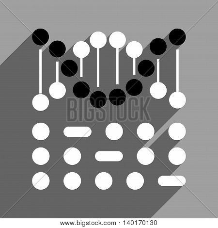 Genetic Code long shadow vector icon. Style is a flat genetic code black and white iconic symbol on a gray square background.