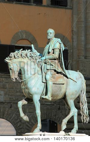 equestrian monument of Cosimo I de Medici, first Grand Duke of Tuscany in Piazza della Signoria, Florence, Italy