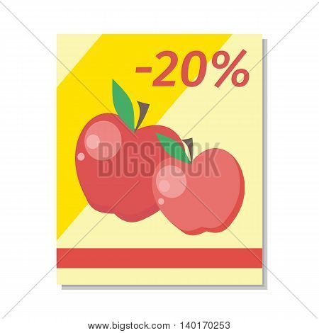 Apple sale vector in flat style design. Two read apples pictures wiht percent discount sign. Fruit illustration for sale banners, label printing, shop signs. Isolated on white background.