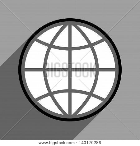 Globe long shadow vector icon. Style is a flat globe black and white iconic symbol on a gray square background.