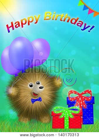 fictional cartoon character, like a hedgehog, standing on the grass with gifts and colored balloons and inscription Happy Birthday