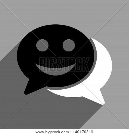 Happy Chat long shadow vector icon. Style is a flat happy chat black and white iconic symbol on a gray square background.