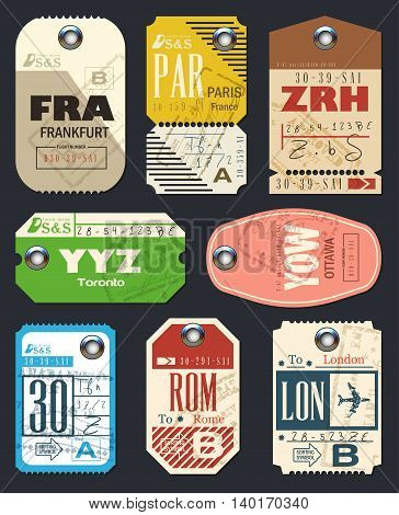 Airline tags. Checklist for Travelers. Vintage Luggage Tags. Vector