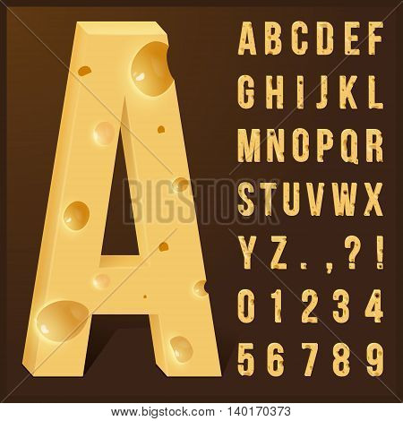 Cheese alphabet set. Vector illustration. Alphabet made of Cheese
