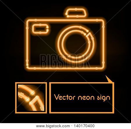 Vector neon sign photo studio, bright signboard, light banner.