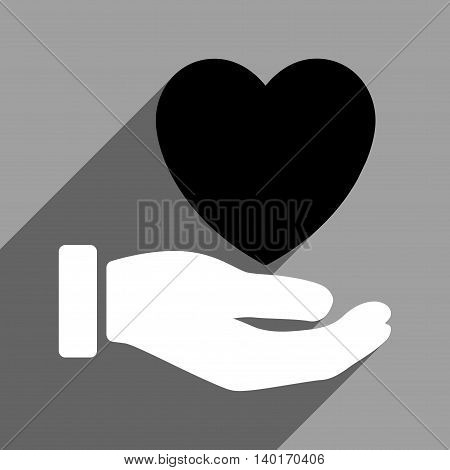 Heart Charity Hand long shadow vector icon. Style is a flat heart charity hand black and white iconic symbol on a gray square background.