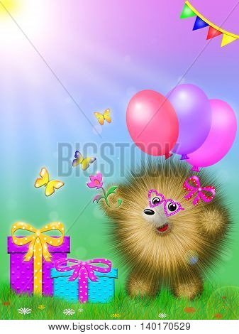 fictional cartoon character, like a hedgehog, standing on the grass with gifts and colored balloons