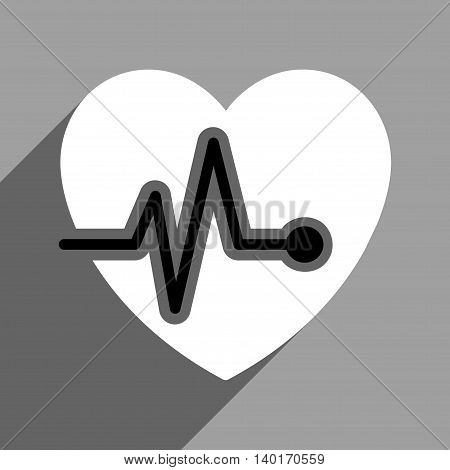 Heart Pulse long shadow vector icon. Style is a flat heart pulse0 black and white iconic symbol on a gray square background.