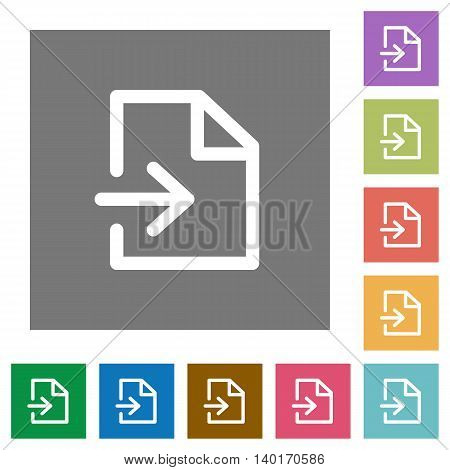 Import flat icon set on color square background.