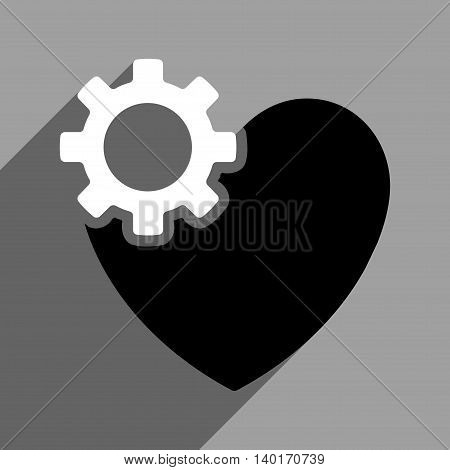 Heart Surgery long shadow vector icon. Style is a flat heart surgery black and white iconic symbol on a gray square background.