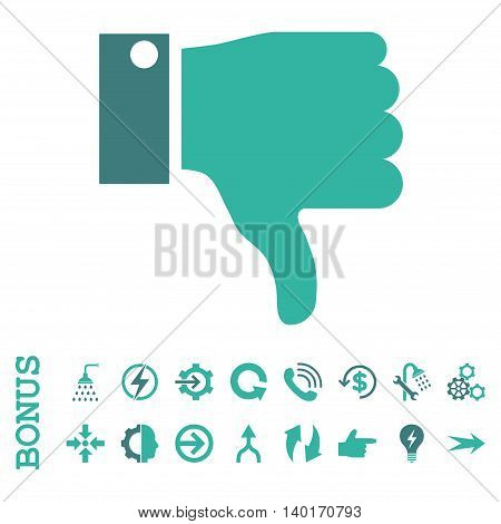Thumb Down vector bicolor icon. Image style is a flat iconic symbol, cobalt and cyan colors, white background.
