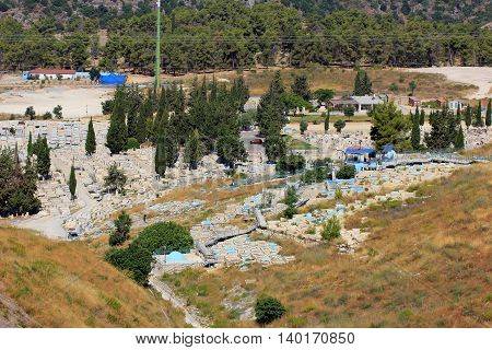 old and modern jewish cemetery, Safed, Upper Galilee, Israel