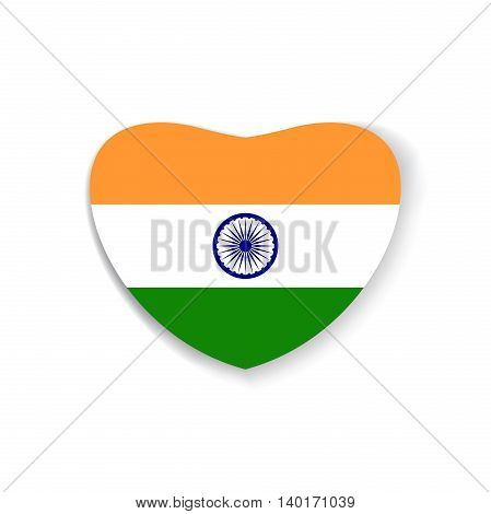India Flag in shape of heart. India flag inside of the heart. Vector illustration
