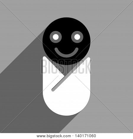 Infant long shadow vector icon. Style is a flat infant black and white iconic symbol on a gray square background.
