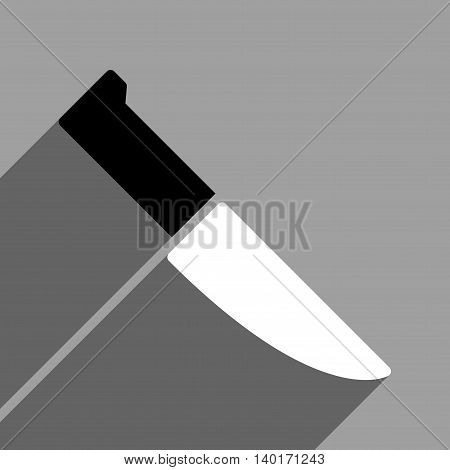 Knife long shadow vector icon. Style is a flat knife black and white iconic symbol on a gray square background.