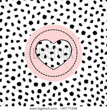 Spotted seamless pattern-vector illustration. Heart in the circle. Poster textile Wallpaper pattern.