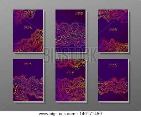 Brochure cover set with abstract waves. 6 panels on gray background. Vector template.