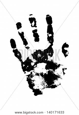 Human grunge handprint with skin texture isolated on white background. The right palm. Vector illustration.