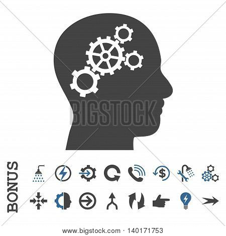 Brain Gears vector bicolor icon. Image style is a flat pictogram symbol, cobalt and gray colors, white background.