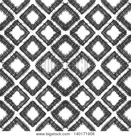 Abstract seamless hand drawn pattern of black rhombs on white background. Design element for background, textile, paper packaging, wrapping paper and other. Vector illustration.