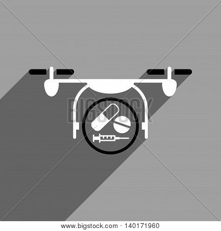 Medication Quadcopter long shadow vector icon. Style is a flat medication quadcopter black and white iconic symbol on a gray square background.