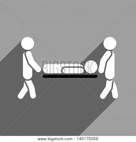 Medics Carry the Patient long shadow vector icon. Style is a flat medics carry the patient black and white iconic symbol on a gray square background.