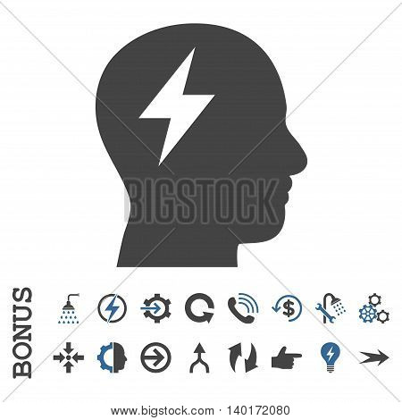 Brainstorming vector bicolor icon. Image style is a flat iconic symbol, cobalt and gray colors, white background.