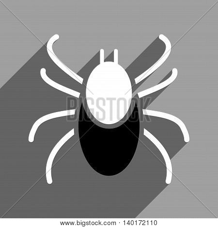 Mite long shadow vector icon. Style is a flat mite black and white iconic symbol on a gray square background.