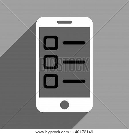 Mobile List long shadow vector icon. Style is a flat mobile list black and white iconic symbol on a gray square background.