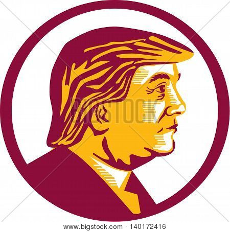 July 27, 2016: Illustration showing Republican Party presidential president 2016 candidate Donald John Trump on isolated white background done in stencil retro art style.