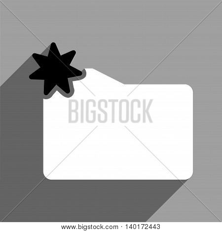 New Folder long shadow vector icon. Style is a flat new folder black and white iconic symbol on a gray square background.