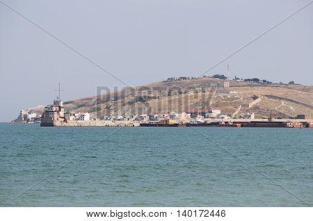 Seaport on the Black Sea in Crimea. Evening