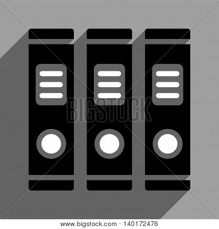 Office Books long shadow vector icon. Style is a flat office books black and white iconic symbol on a gray square background.