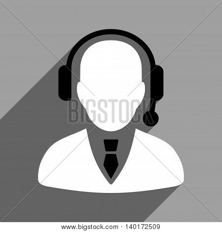 Operator long shadow vector icon. Style is a flat operator black and white iconic symbol on a gray square background.